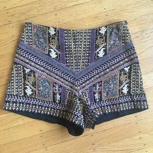 Zara embroidered high waisted shorts